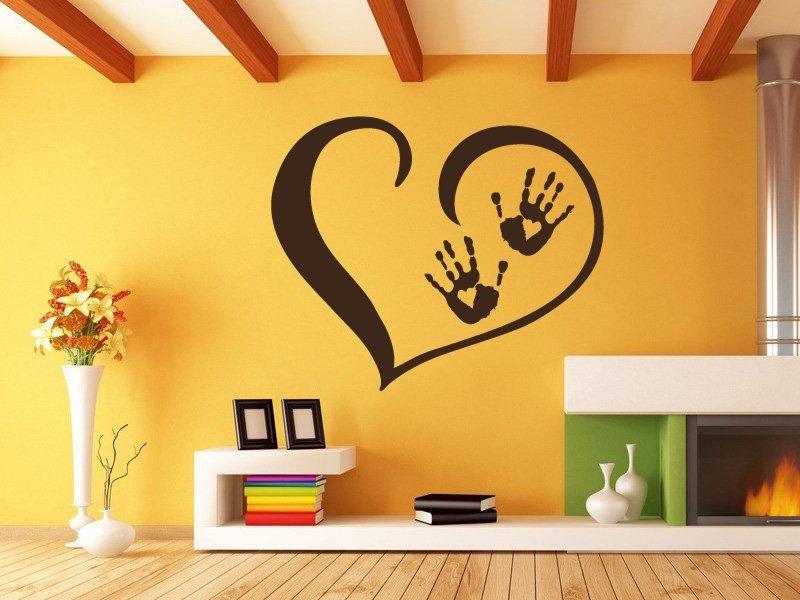 Samolepky na zeď Srdce s dlaněmi 001 - Samolepící dekorace a nálepka na stěnu
