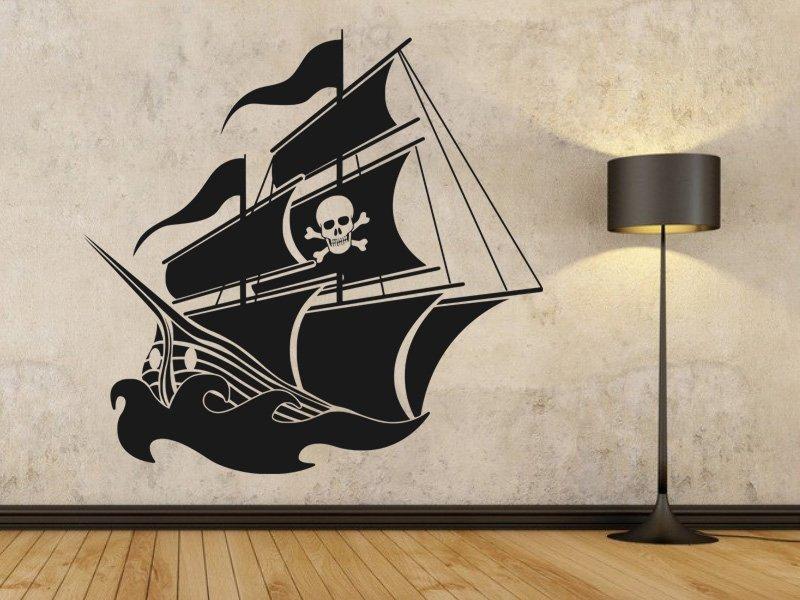 Samolepky na zeď Pirátská loď 001 - Samolepící dekorace a nálepka na stěnu
