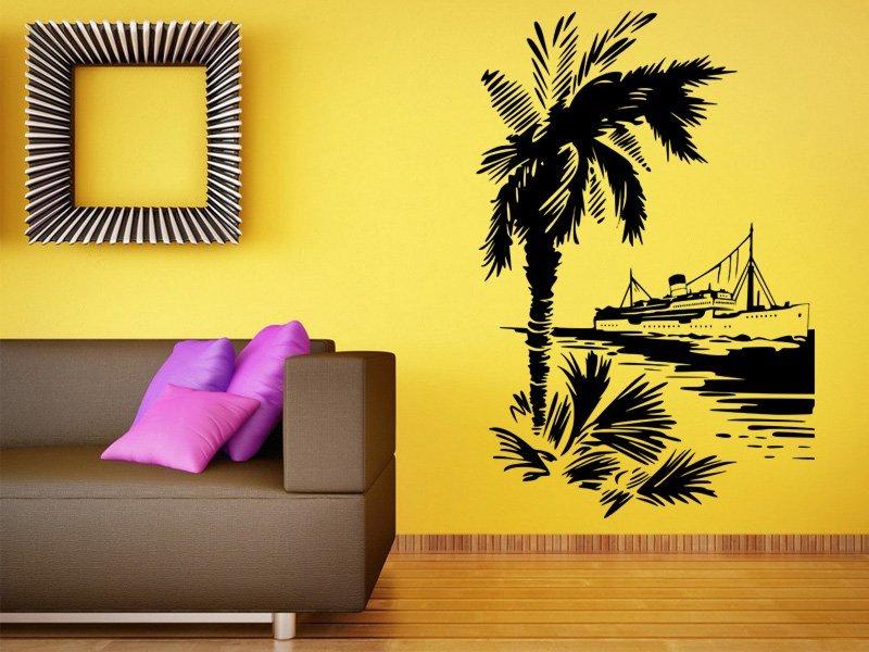 Samolepky na zeď Loď a palma 001 - Samolepící dekorace a nálepka na stěnu