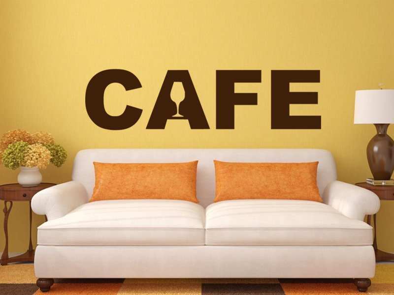 Samolepky na zeď Nápis Cafe 0001 - Samolepící dekorace a nálepka na stěnu