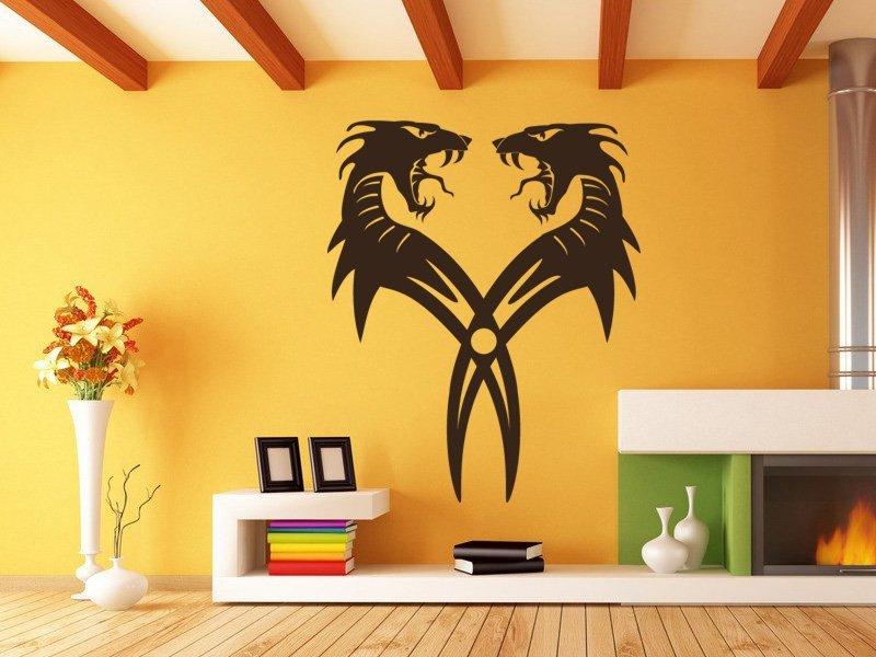 Samolepky na zeď Dračí dvojčata 001 - Samolepící dekorace a nálepka na stěnu