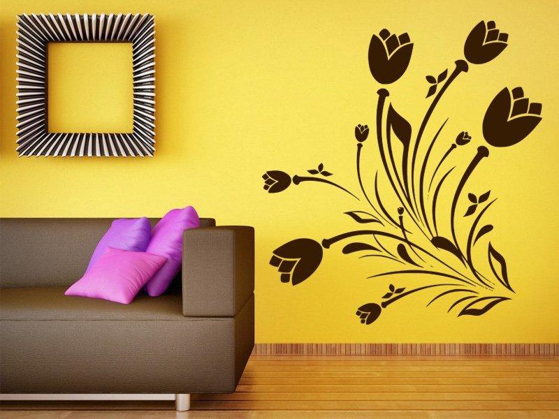 Samolepky na zeď Květiny 038 - Samolepící dekorace a nálepka na stěnu