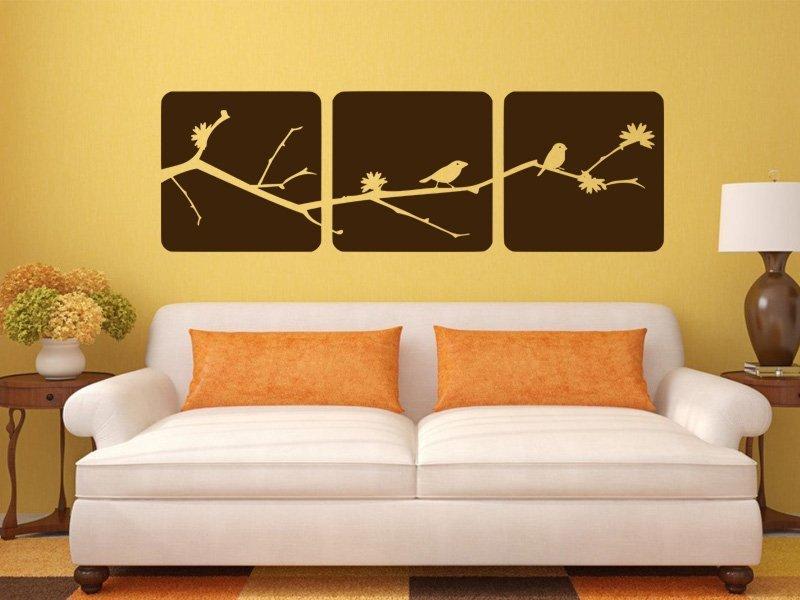 Samolepky na zeď Větev s ptáky 001 - Samolepící dekorace a nálepka na stěnu