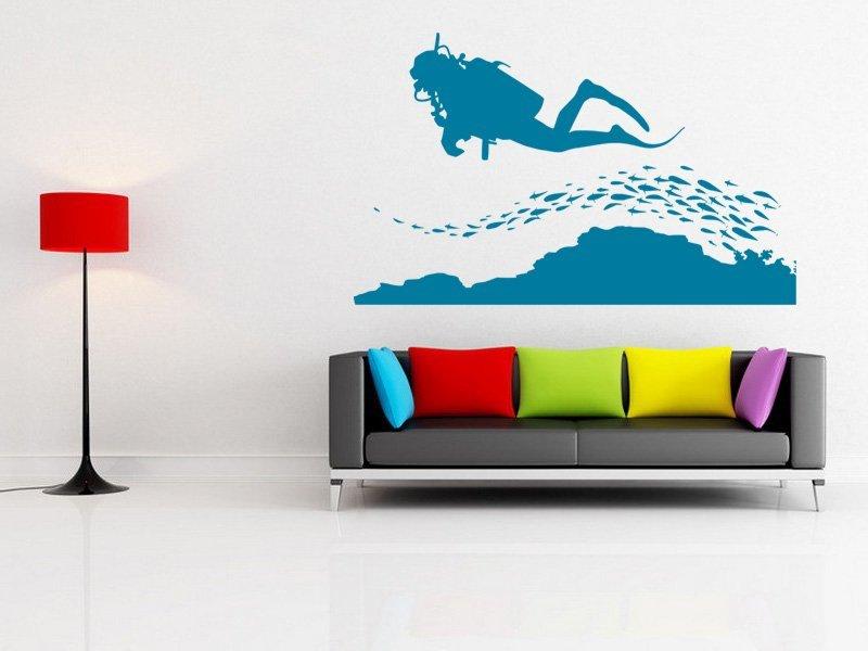 Samolepky na zeď Potápěč 002 - Samolepící dekorace a nálepka na stěnu