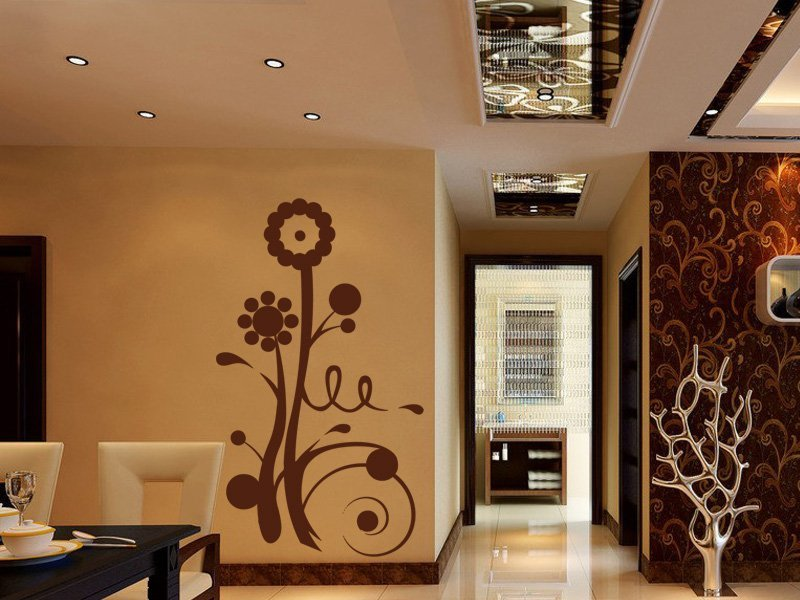 Samolepky na zeď Kytky 001 - Samolepící dekorace a nálepka na stěnu
