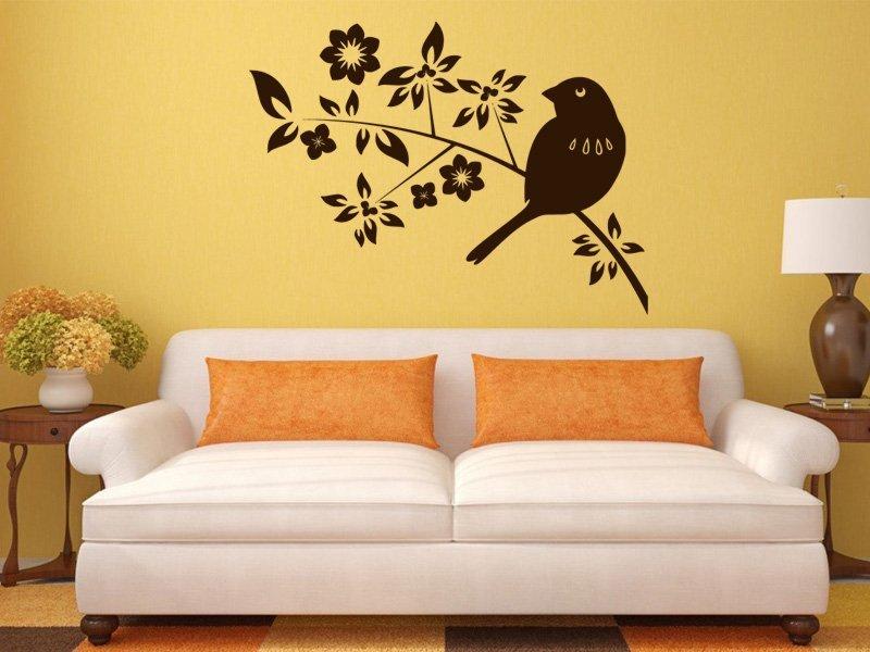 Samolepky na zeď Ptáci na větvích 002 - Samolepící dekorace a nálepka na stěnu