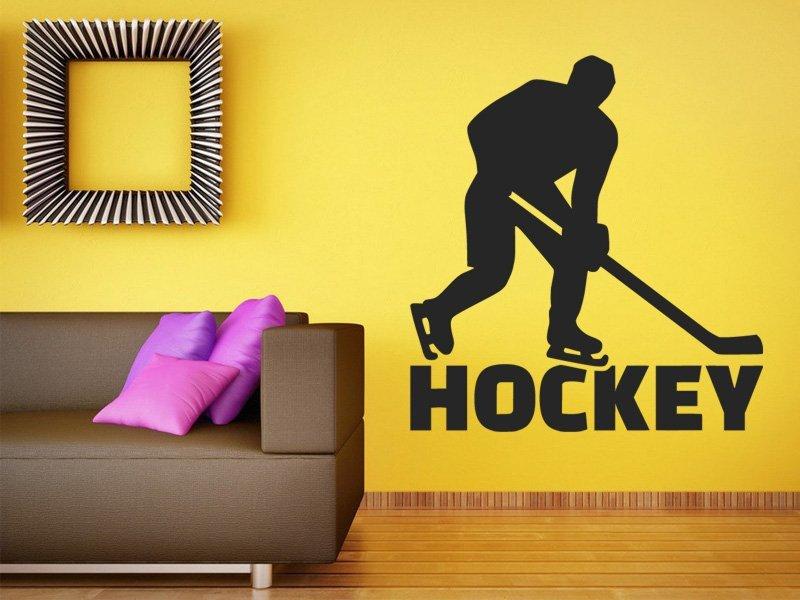 Samolepky na zeď Nápis Hockey s hokejistou 0697 - Samolepící dekorace a nálepka na stěnu