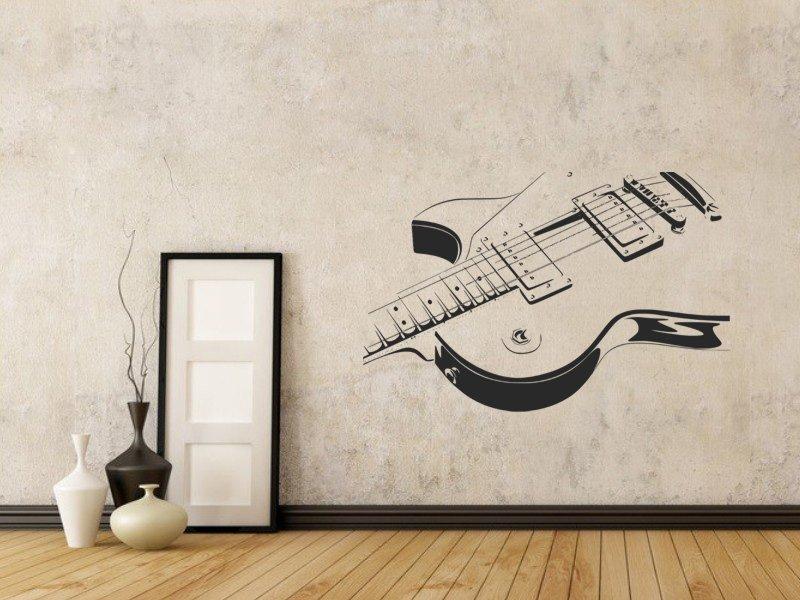 Samolepky na zeď Kytara 005 - Samolepící dekorace a nálepka na stěnu