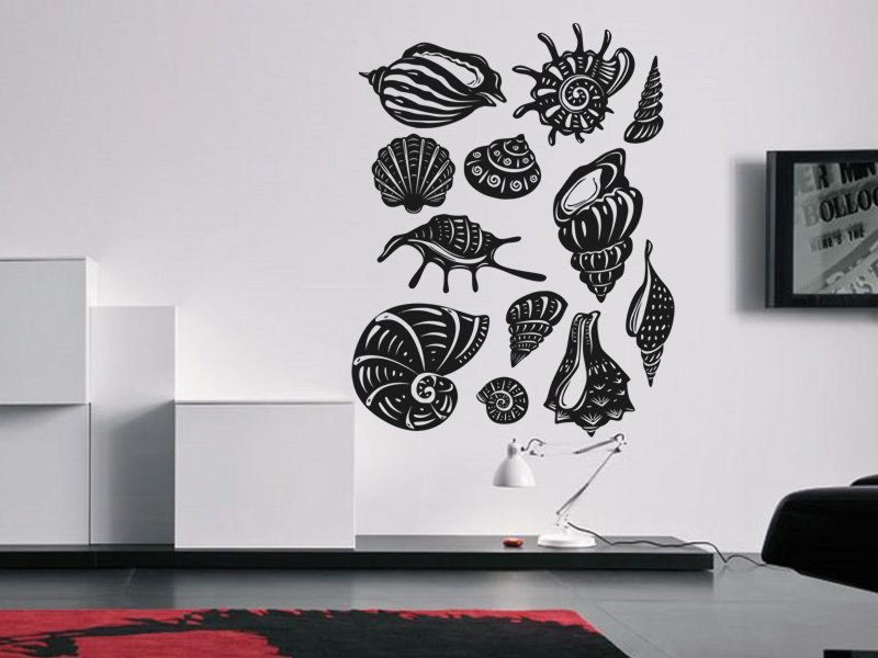 Samolepky na zeď Sada mušlí 001 - Samolepící dekorace a nálepka na stěnu