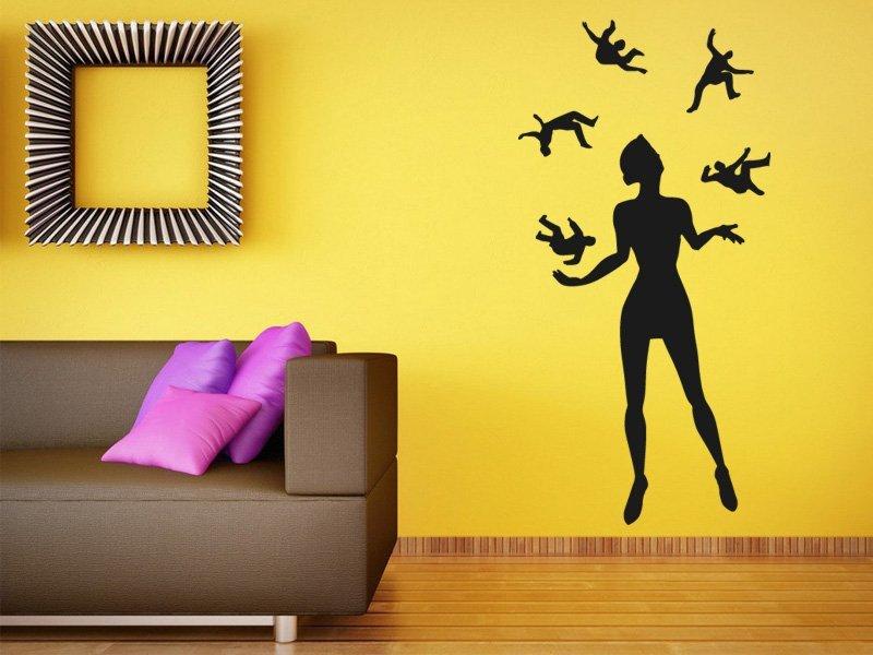 Samolepky na zeď Žonglující žena 001 - Samolepící dekorace a nálepka na stěnu