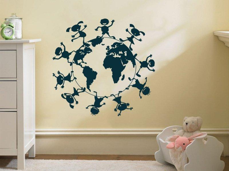 Samolepky na zeď Děti na zeměkouli 001