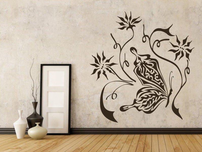 Samolepky na zeď Květiny s motýly 001 - Samolepící dekorace a nálepka na stěnu