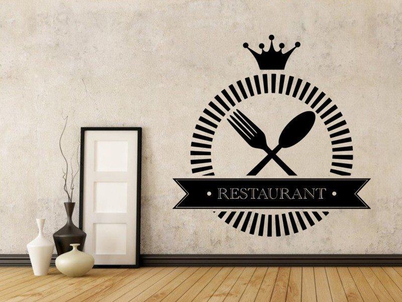Samolepky na zeď Příbory a nápis Restaurant 0088 - Samolepící dekorace a nálepka na stěnu