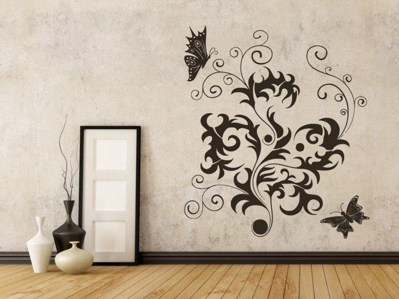 Samolepky na zeď Květiny s motýly 012 - Samolepící dekorace a nálepka na stěnu