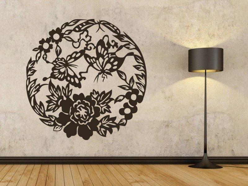 Samolepky na zeď Květiny s motýly 005 - Samolepící dekorace a nálepka na stěnu