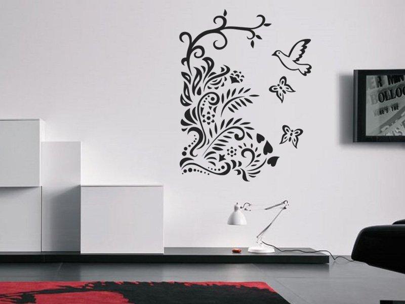 Samolepky na zeď Větev s ptáky 005 - Samolepící dekorace a nálepka na stěnu