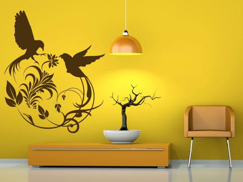 Samolepky na zeď Květiny s ptáky 001 - Samolepící dekorace a nálepka na stěnu