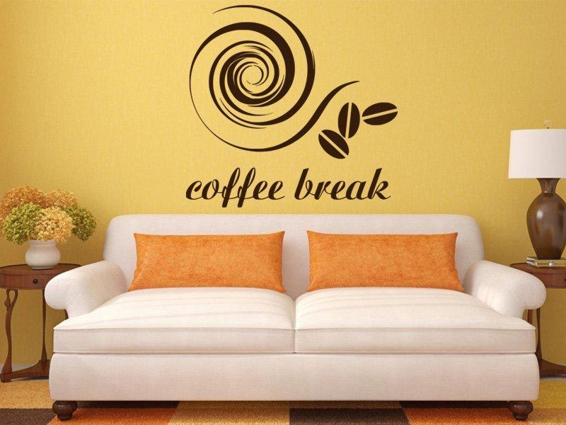 Samolepky na zeď Nápis Coffee break 0042 - Samolepící dekorace a nálepka na stěnu