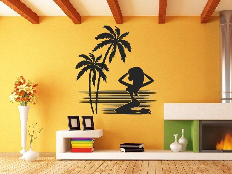 Samolepky na zeď Kráska na pláži 001 - Samolepící dekorace a nálepka na stěnu