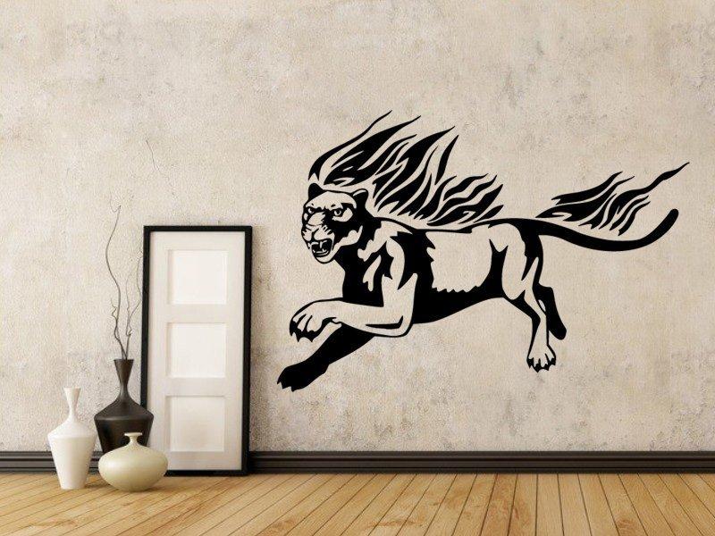 Samolepky na zeď Tygr s plameny 003 - Samolepící dekorace a nálepka na stěnu