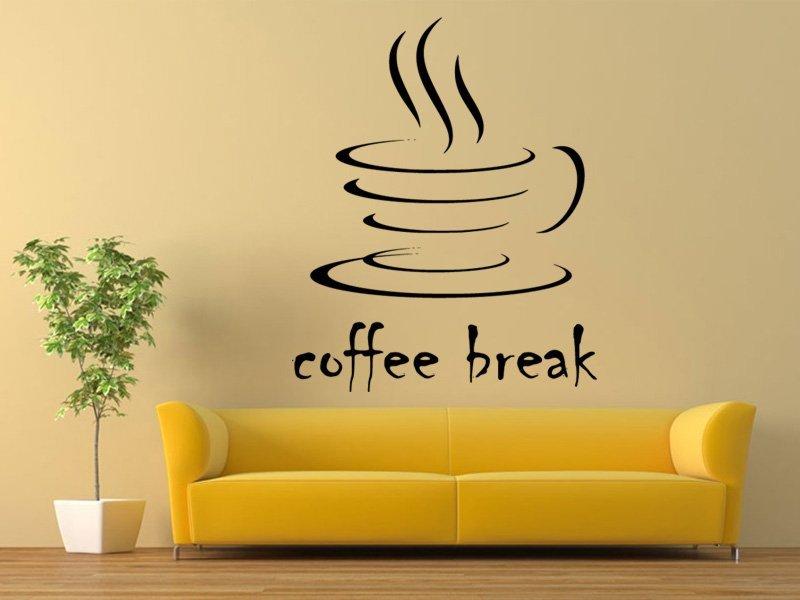 Samolepky na zeď Nápis Coffee break 0043 - Samolepící dekorace a nálepka na stěnu