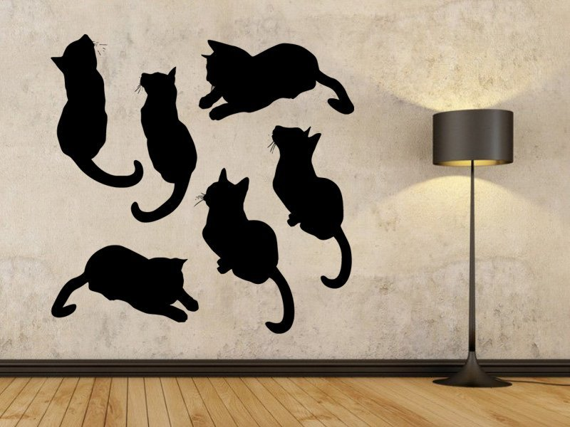 Samolepky na zeď Sada koček 0509 - Samolepící dekorace a nálepka na stěnu
