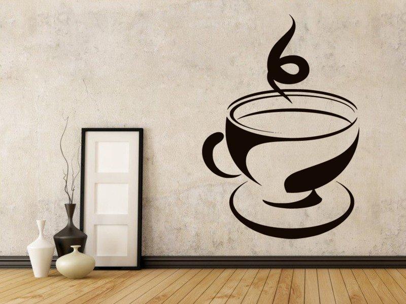 Samolepky na zeď Hrnek kávy 0056 - Samolepící dekorace a nálepka na stěnu