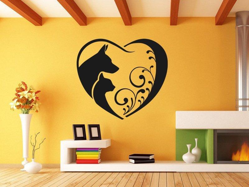 Samolepky na zeď Kočka a pes 0561 - Samolepící dekorace a nálepka na stěnu