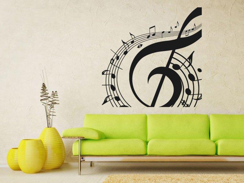 Samolepky na zeď Noty 011 - Samolepící dekorace a nálepka na stěnu