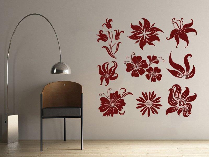Samolepky na zeď Sada květin 001 - Samolepící dekorace a nálepka na stěnu