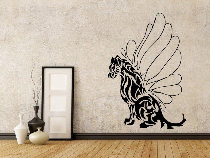 Samolepky na zeď Kočka s křídly 001 - Samolepící dekorace a nálepka na stěnu