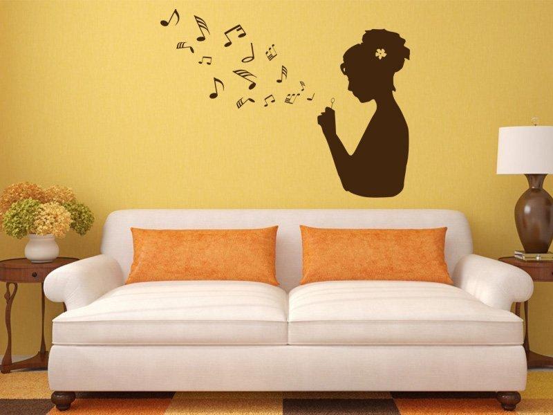 Samolepky na zeď Dívka s notami 001 - Samolepící dekorace a nálepka na stěnu