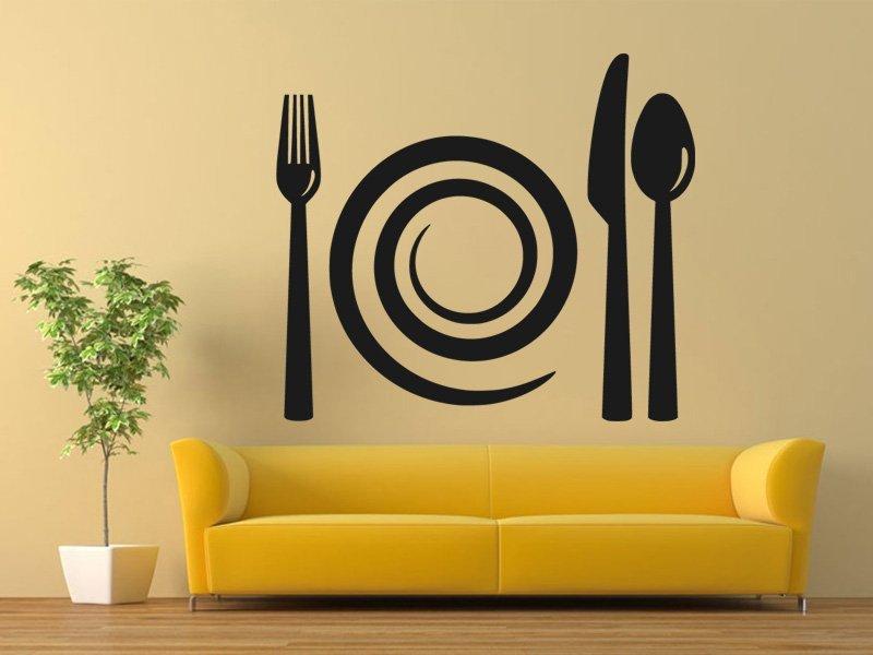 Samolepky na zeď Příbory a talíř 0090 - Samolepící dekorace a nálepka na stěnu