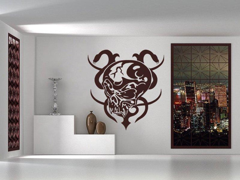 Samolepky na zeď Lebka s hady 001 - Samolepící dekorace a nálepka na stěnu