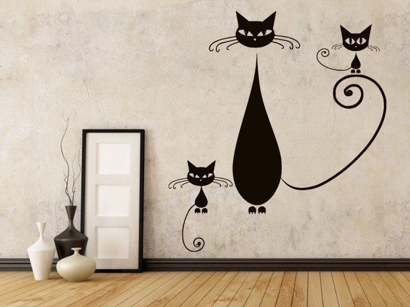 Samolepky na zeď Kočka 009 - Samolepící dekorace a nálepka na stěnu