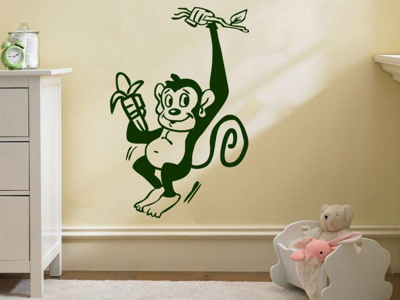 Samolepky na zeď Opička 006 - Samolepící dekorace a nálepka na stěnu