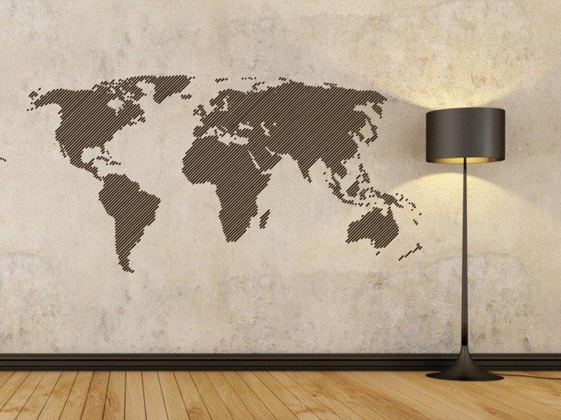Samolepky na zeď Mapa světa 001 - Samolepící dekorace a nálepka na stěnu