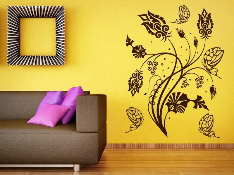 Samolepky na zeď Květiny s motýly 015 - Samolepící dekorace a nálepka na stěnu