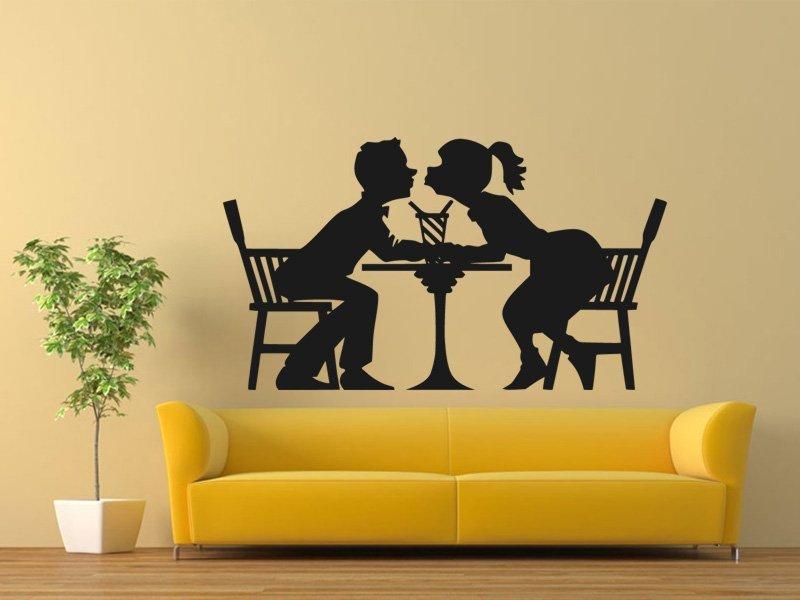 Samolepky na zeď Zamilovaný pár 0309 - Samolepící dekorace a nálepka na stěnu