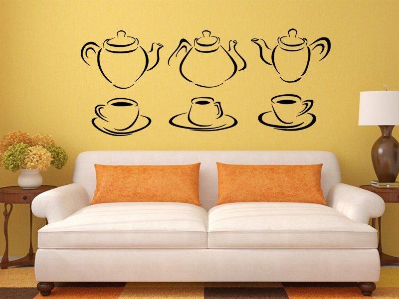 Samolepky na zeď Konvice na čaj 0081 - Samolepící dekorace a nálepka na stěnu