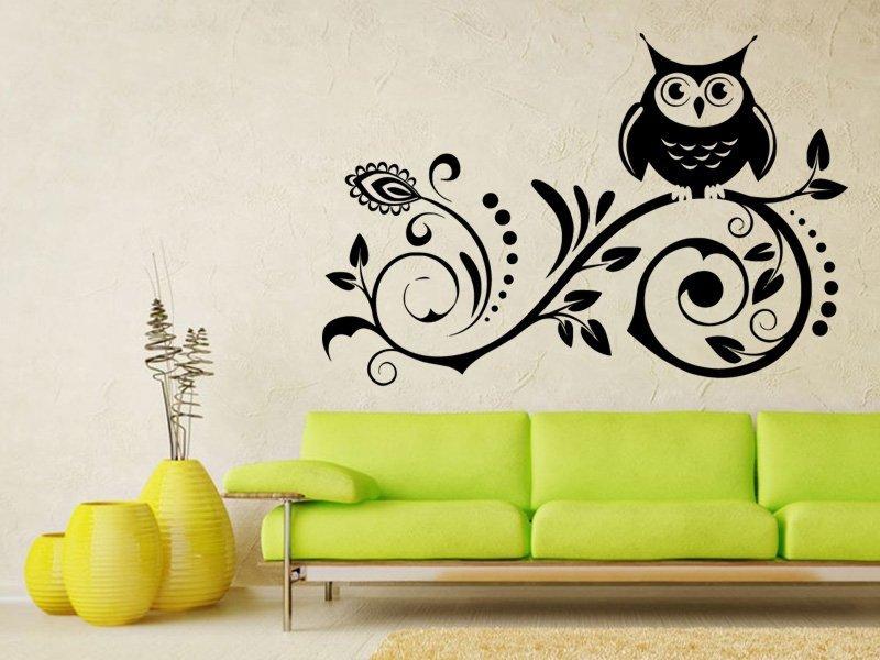 Samolepky na zeď Sova na větvi 0299 - Samolepící dekorace a nálepka na stěnu
