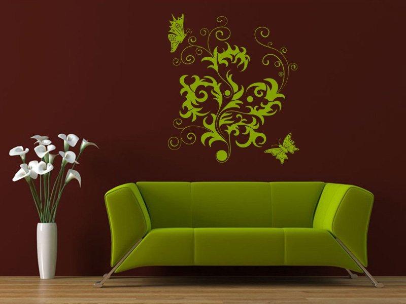 Samolepky na zeď Květiny s motýly 012