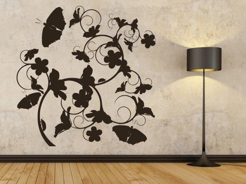 Samolepky na zeď Květiny s motýly 020 - Samolepící dekorace a nálepka na stěnu