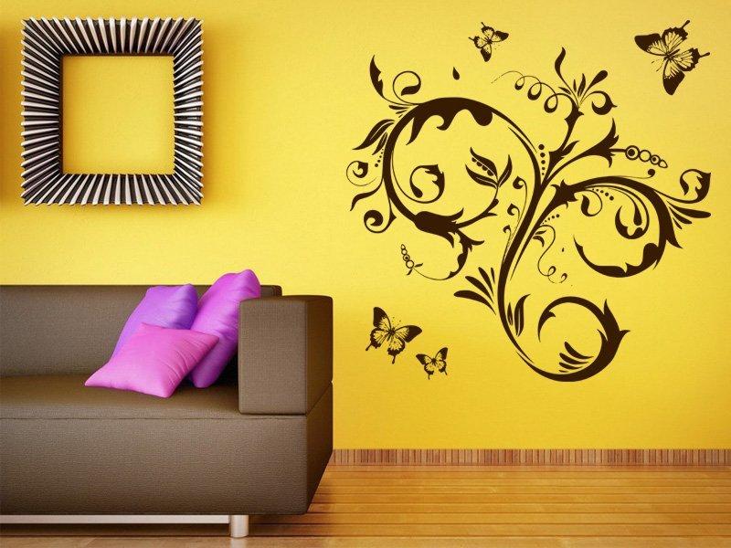 Samolepky na zeď Květiny s motýly 010 - Samolepící dekorace a nálepka na stěnu