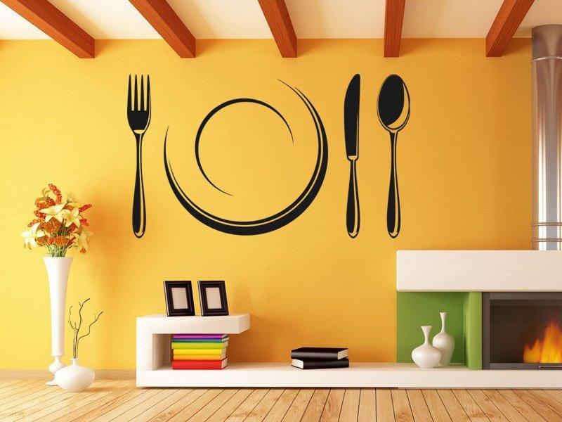 Samolepky na zeď Příbory a talíř 0089 - Samolepící dekorace a nálepka na stěnu