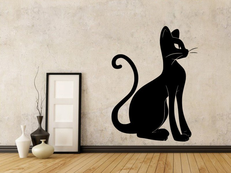 Samolepky na zeď Kočka 0466 - Samolepící dekorace a nálepka na stěnu