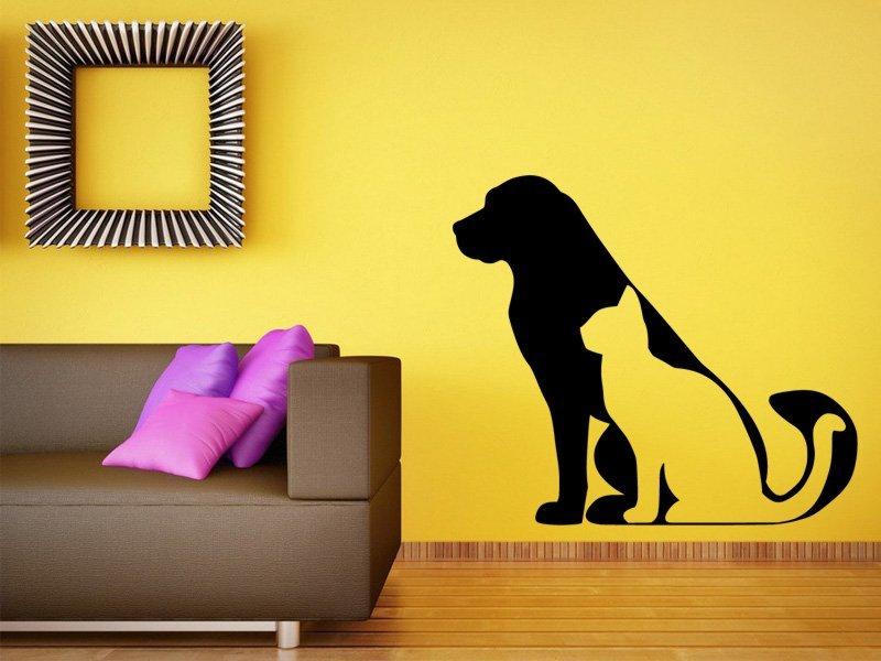Samolepky na zeď Kočka a pes 0543 - Samolepící dekorace a nálepka na stěnu