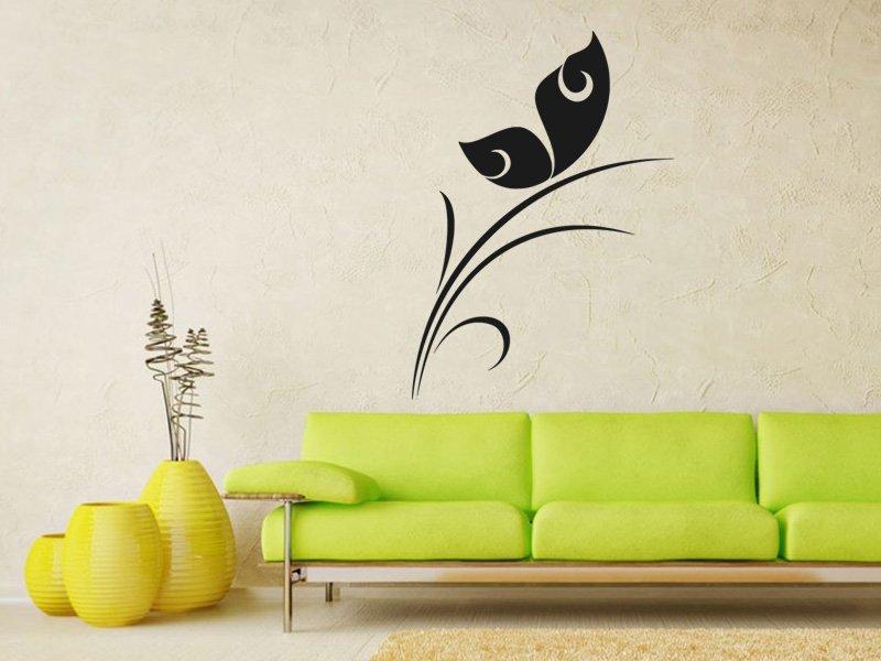 Samolepky na zeď Rostlina s motýlem 0193 - Samolepící dekorace a nálepka na stěnu