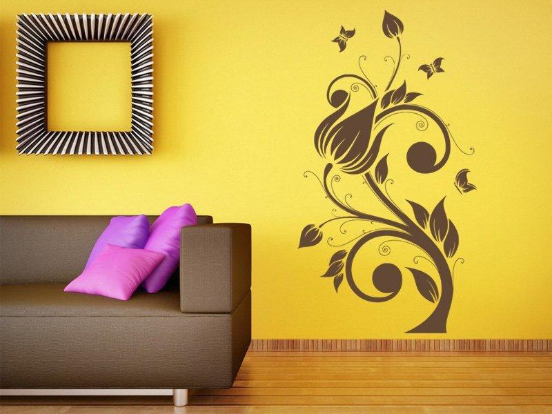 Samolepky na zeď Květiny s motýly 022 - Samolepící dekorace a nálepka na stěnu