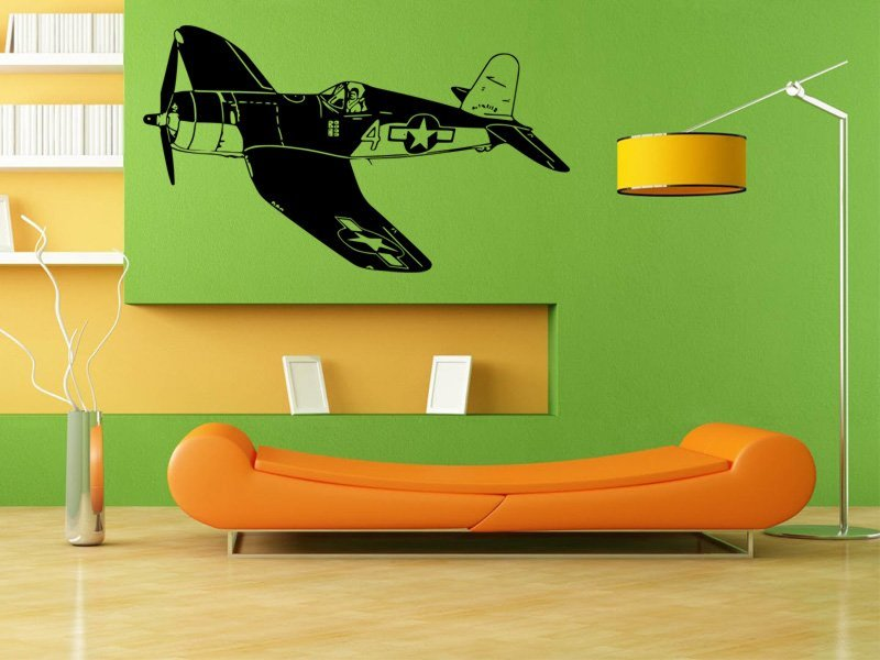 Samolepky na zeď Letadlo 014 - Samolepící dekorace a nálepka na stěnu